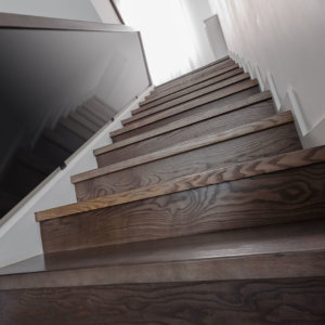 Hardwood stair nosing with tinted glass railing.