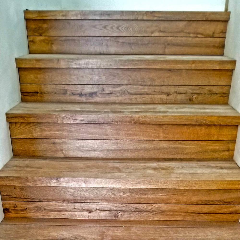 Custom Stair Nosings in Cinnamon.